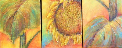 Sunflower & Leaves (triptych)
