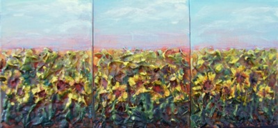 Sunflower Seed Landscape (triptych)